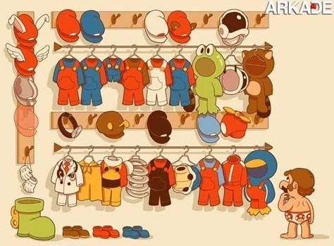 O que tem no guarda-roupas do Mario?