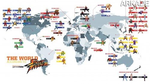 O mapa do mundo de acordo com o jogo Street Fighter