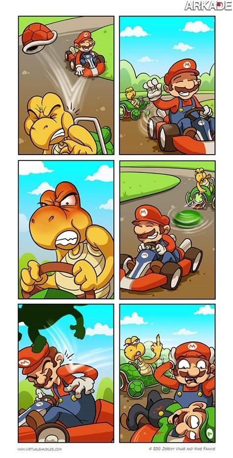 Tirinha: a vingança dos Koopas em Mario Kart