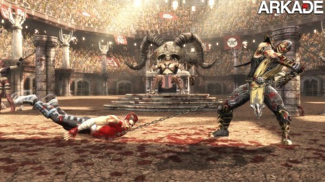 MK9 360 ScorpionVsCage Drag Coliseum WEB Mortal Kombat (PS3, X360) Preview: Fatality em alta definição