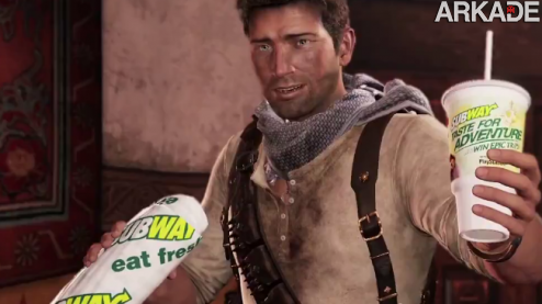 Uncharted Subway1 Nathan Drake, de Uncharted, vira garoto propaganda do Subway!