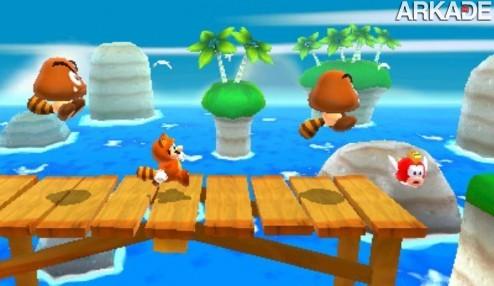 super mario 3d land screenshot tanooki goombas1 Super Mario: novo vídeo e o hype das caudas de guaxinim (tanooki)