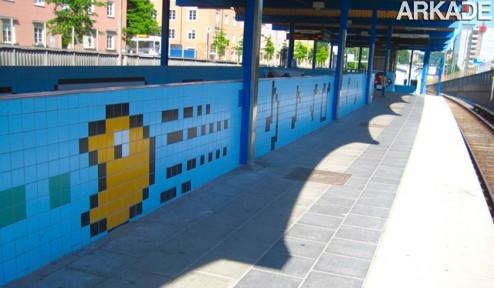 Uma estação de metrô para gamer nenhum botar defeito