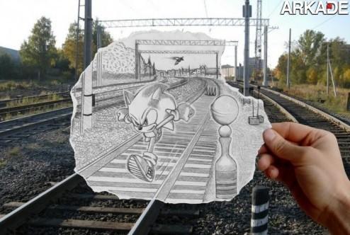 Sonic acelera no mundo real em arte muito criativa