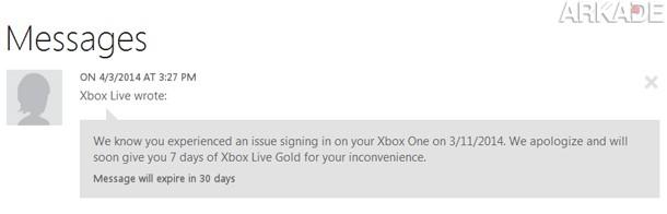 Semana grátis de Xbox Live Gold para quem se deu mal ao logar no serviço dia 11 de março