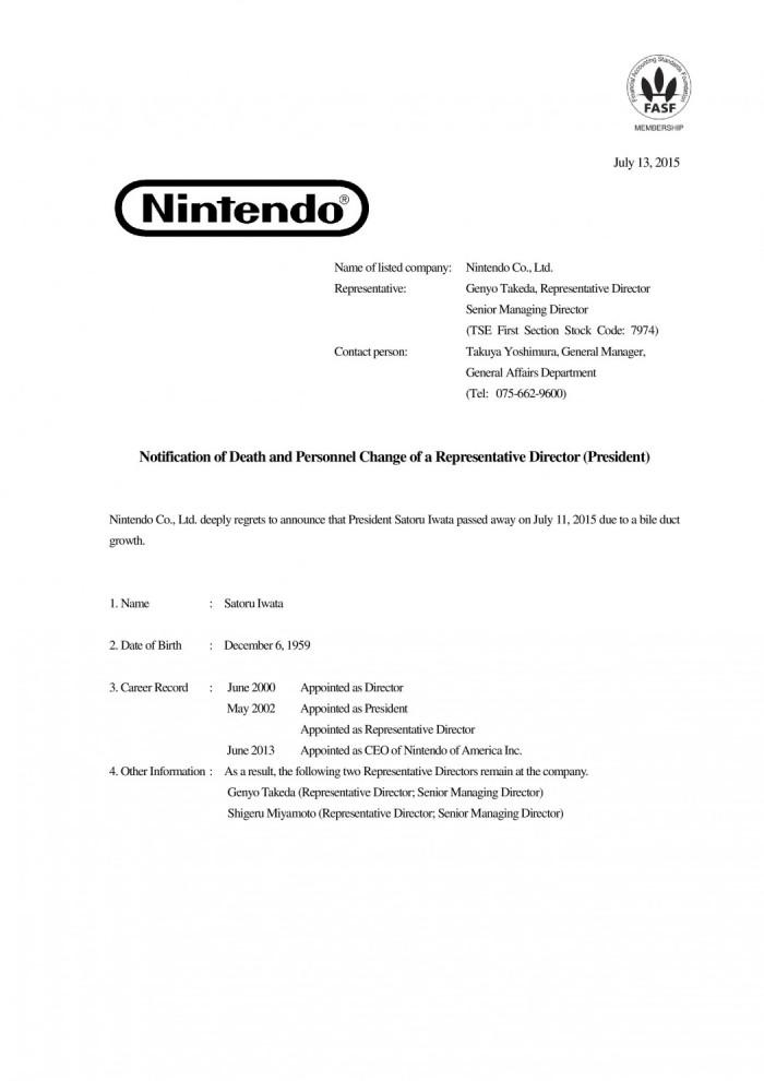 Satoru Iwata, presidente da Nintendo, falece aos 55 anos