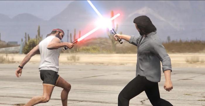 GTA V entra no hype de Star Wars com uma épica batalha de sabres de luz