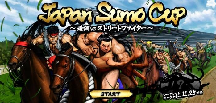 Sim, existe um jogo de corrida de cavalos com personagens de Street Fighter e lutadores de sumô