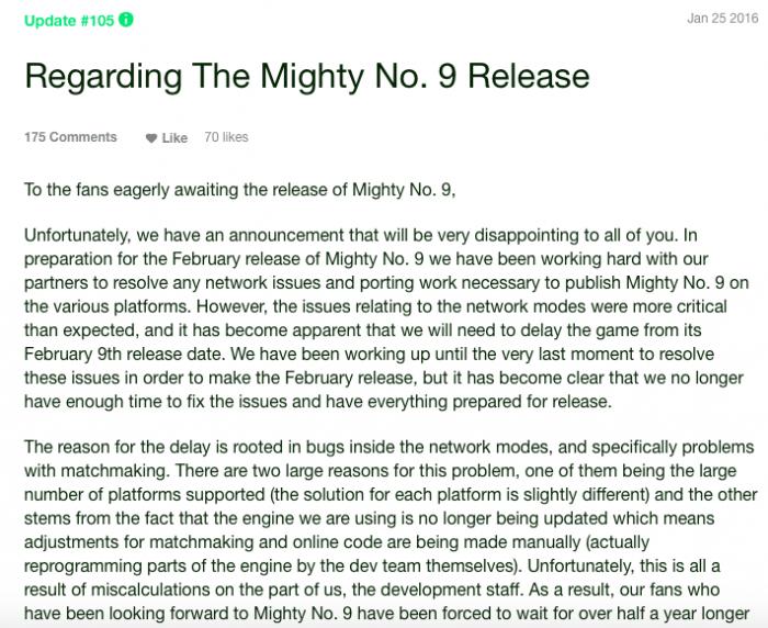 Adivinha qual Mighty No. 9 foi adiado de novo? A equipe explicou os motivos.