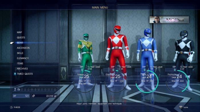 Os Power Rangers estão com tudo neste incrível mod de Final Fantasy XV!