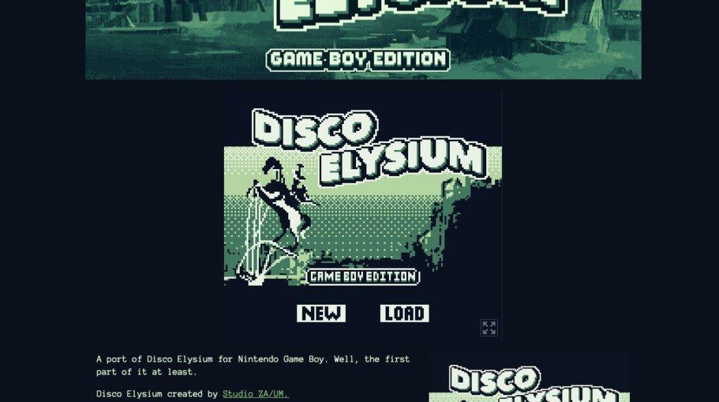 Disco Elysium ganhou um port de fã para o Game Boy