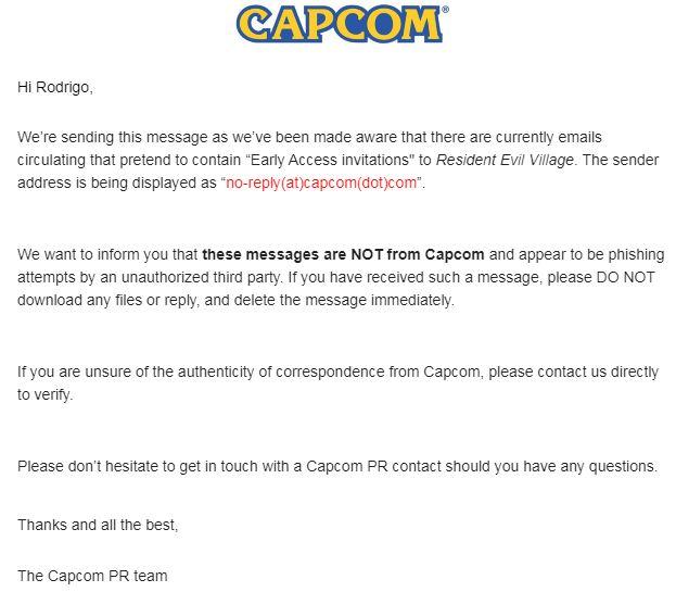 Capcom alerta para e-mails fraudulentos de acesso antecipado a Resident Evil Village