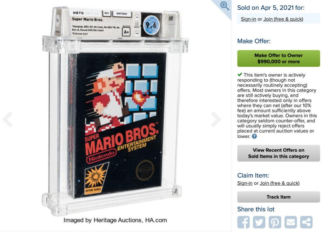 Cartucho lacrado e raro de Super Mario Bros. foi vendido por R$ 3,7 milhões